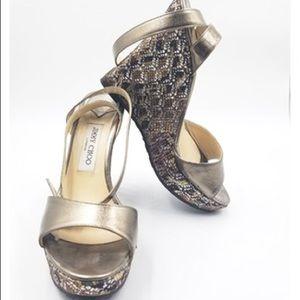 Jimmy Choo Bronze Glitter Wedge Sandals